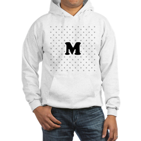 Your Letter on Gray dots. Hooded Sweatshirt