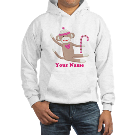Custom Christmas Sock Monkey Hooded Sweatshirt