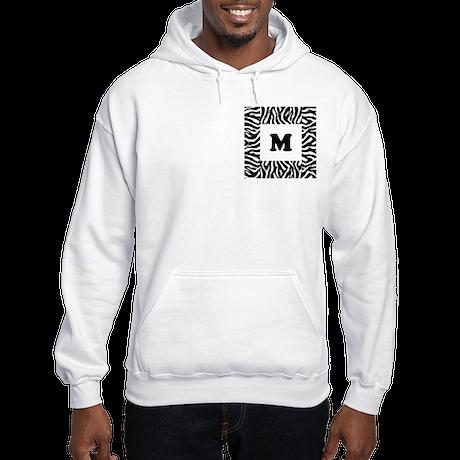 Zebra Print. Custom Letter. Hooded Sweatshirt