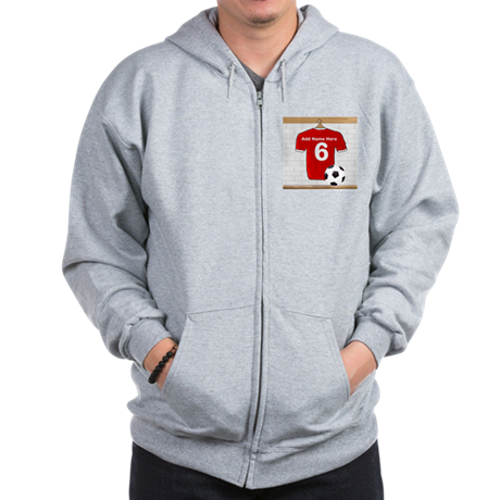 Red Customizable Soccer footb Zip Hoodie