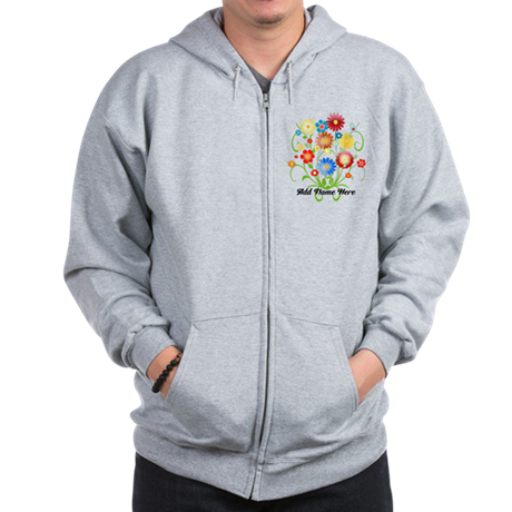 Personalized floral light Zip Hoodie