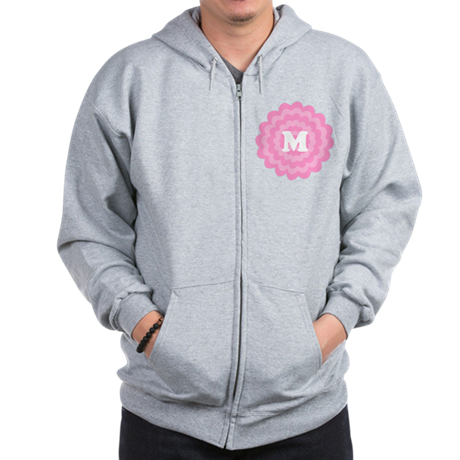 Your Letter on Pink Flower. Zip Hoodie