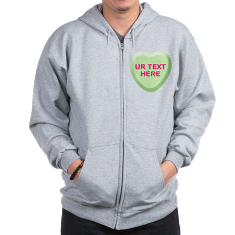 Lime Candy Heart Personalized Zip Hoodie