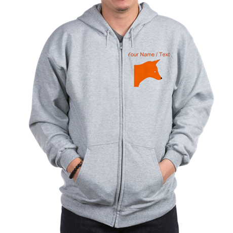 Custom Orange Fox Zip Hoody