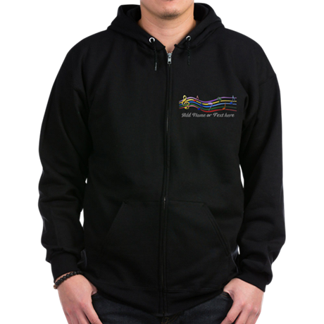Personalized Rainbow Musical Zip Hoodie (dark)