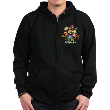 Personalized floral dark Zip Hoodie (dark)