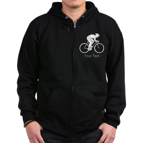Cycling Design and Text. Zip Hoodie (dark)