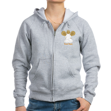 Personalized Christmas Angel Women's Zip Hoodie