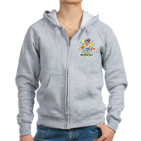 Personalized floral light Women's Zip Hoodie