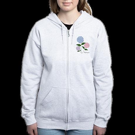 Custom Hydrangea Women's Zip Hoodie