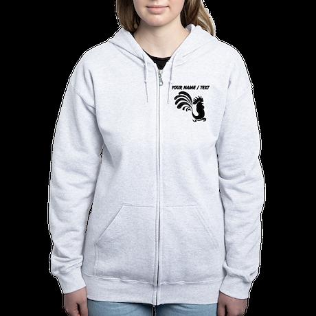 Custom Black Rooster Silhouette Zip Hoody