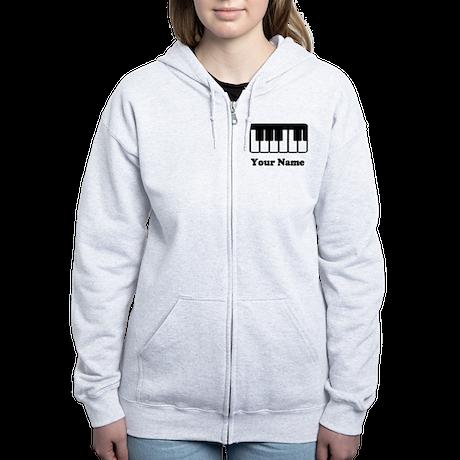 Personalized Piano Keyboard Women's Zip Hoodie