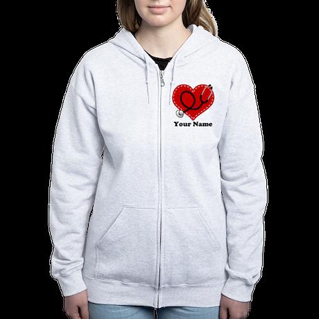 Personalized Nurse Heart Women's Zip Hoodie