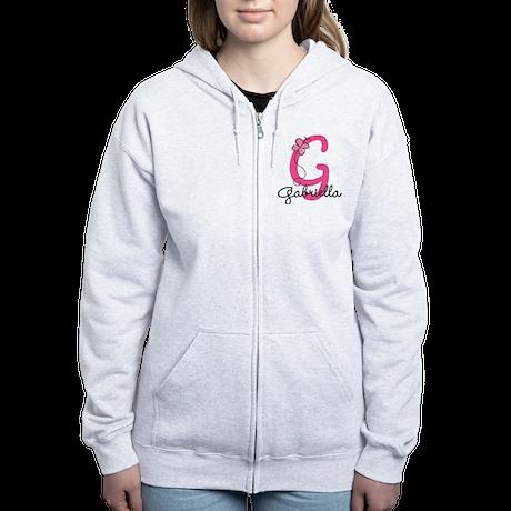 Personalized Monogram Letter G Women's Zip Hoodie
