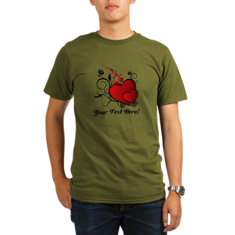 Personalized Red/Black Hearts Organic Men's T-Shir