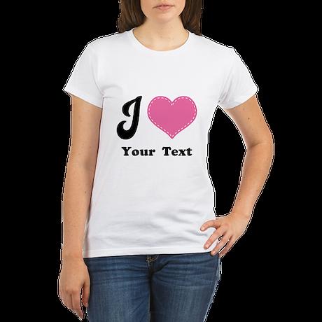 Personalized Love Heart Organic Women's T-Shirt