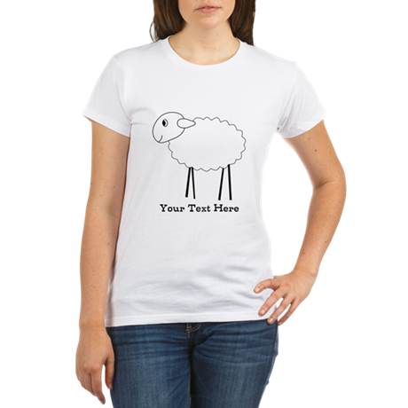 Sheep. Custom Black Text. Organic Women's T-Shirt