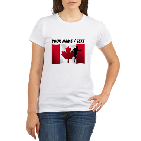Custom Running Canadian Flag T-Shirt