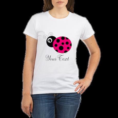 Pesronalizable Pink and Black Ladybug T-Shirt