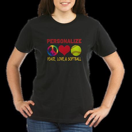 Personalize Girls Softball Organic Women's T-Shirt