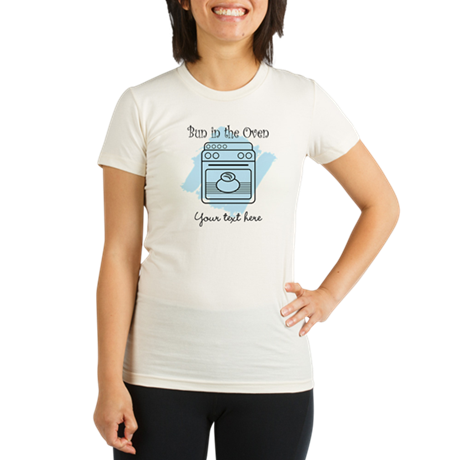 Bun in the Oven (blue) Organic Women's Fitted T-Sh