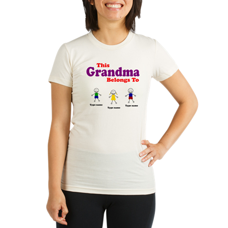 Personalized Grandma 3 kids Organic Women's Fitted