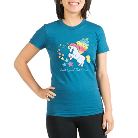 Unicorn Rainbow Star Organic Women's Fitted T-Shir