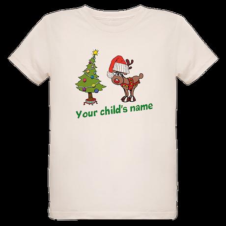 Reindeer & Tree Personalized Organic Kids T-Sh