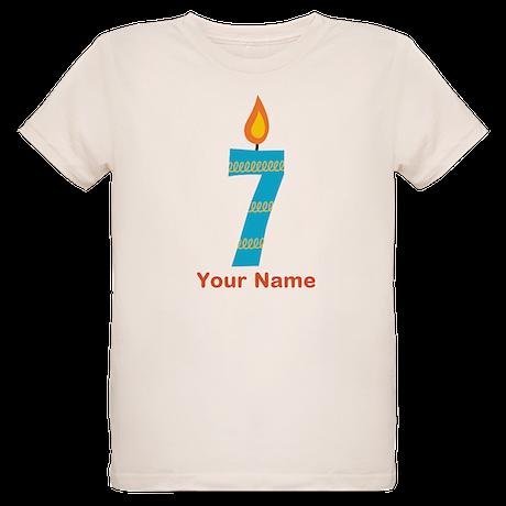 Custom 7th Birthday Candle Organic Kids T-Shirt
