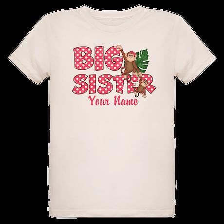 Big Sister Monkey Pink Organic Kids T-Shirt