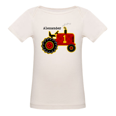 Red Tractor 1st Birthday Personalized Organic Baby