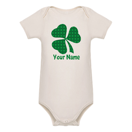 Personalized Irish Shamrock Organic Baby Bodysuit