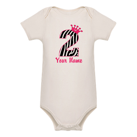 2nd Birthday Zebra Print Organic Baby Bodysuit