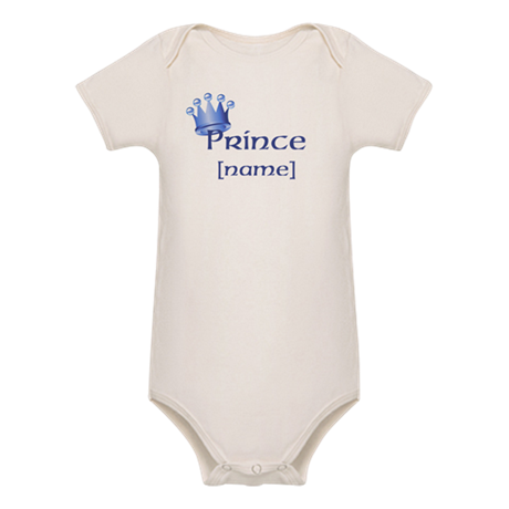 Prince with Personalized name Organic Baby Bodysui