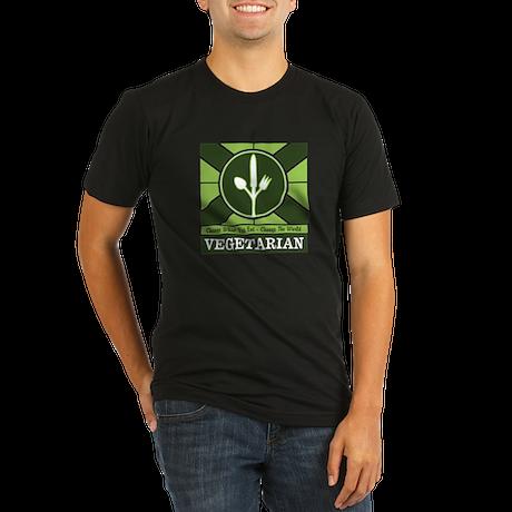 Custom Vegetarian Flag Organic Men's Fitted T-Shir