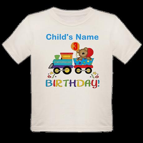 birthday bear train custom Organic Toddler T-Shirt