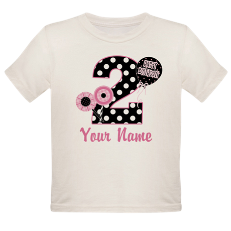 2nd Birthday Pink and Black Organic Toddler T-Shir