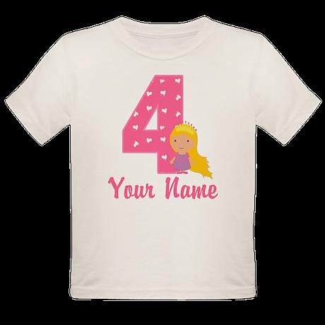 4th Birthday Princess Organic Toddler T-Shirt