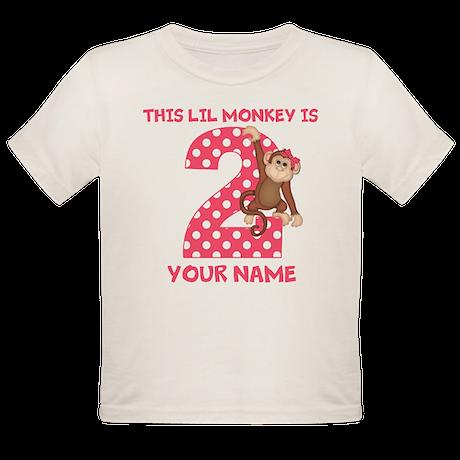 2nd Birthday Monkey Girl Organic Toddler T-Shirt