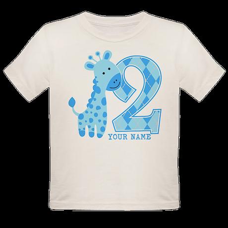 2nd Birthday Blue Giraffe Personalized Organic Tod