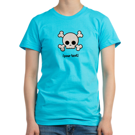 [Your text] Cute Skull Women's Fitted T-Shirt (dar