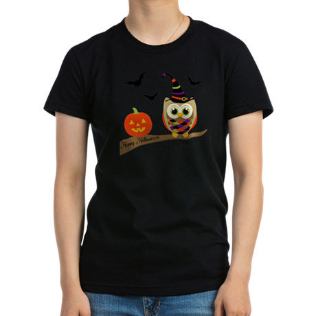 Custom name Halloween owl Women's Fitted T-Shirt (