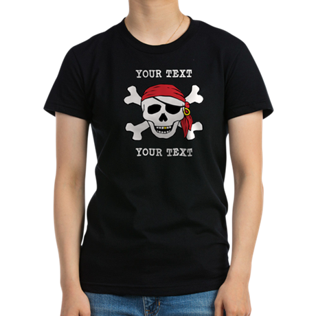 PERSONALIZE Funny Pirate Women's Fitted T-Shirt (d