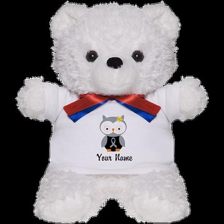Personalized Gray Ribbon Owl Teddy Bear