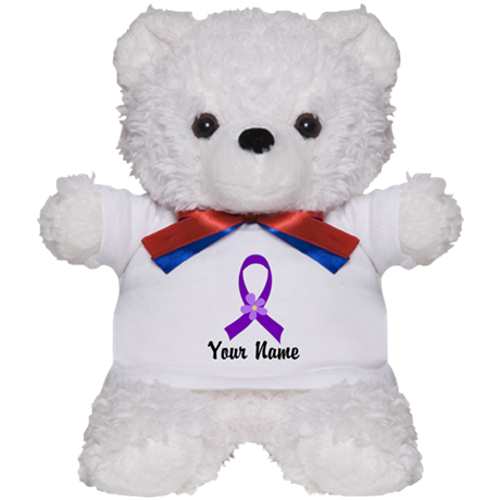 Personalized Purple Ribbon Daisy Teddy Bear