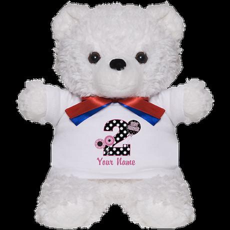 2nd Birthday Pink and Black Teddy Bear