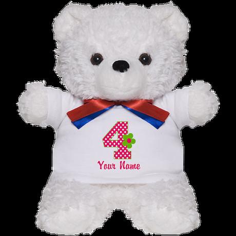 4th Birthday Pink Green Teddy Bear