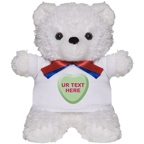 Lime Candy Heart Personalized Teddy Bear