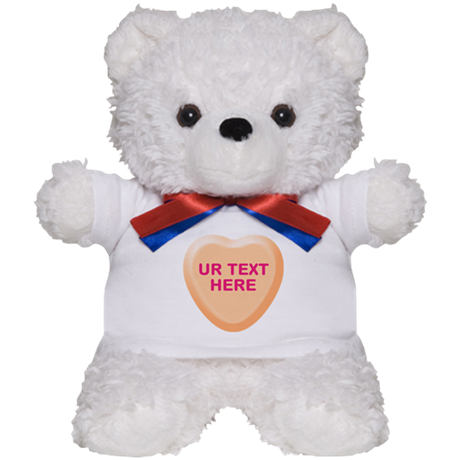Orange Candy Heart Personalized Teddy Bear
