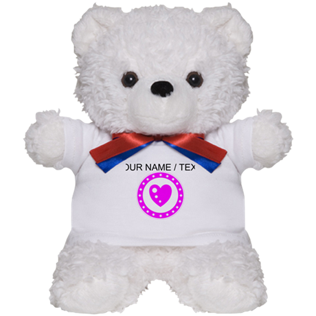 Custom Pink Heart Circle Teddy Bear